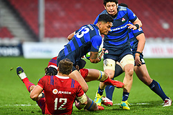 Timothy Lafaele of Japan is tackled by Dmitry Gerasimov of Russia <br /> <br /> Photographer Craig Thomas<br /> <br /> Japan v Russia<br /> <br /> World Copyright ©  2018 Replay images. All rights reserved. 15 Foundry Road, Risca, Newport, NP11 6AL - Tel: +44 (0) 7557115724 - craig@replayimages.co.uk - www.replayimages.co.uk