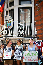 © Licensed to London News Pictures. 19/06/2017. London, UK. Supporters of Wikileaks founder JULIAN ASSANGE gather outside the Ecuadoran embassy in London where the Wikileaks founder has cancelled a planned statement to media. Recently the Swedish authorities dropped their investigation into rape allegations against him. Photo credit: Ben Cawthra/LNP