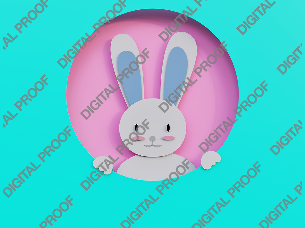 Easter Bunny in a frame minimalism Art paper cut - 3D Rendering Concept
