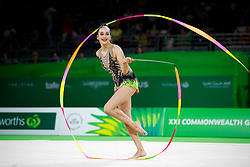 Wales' Abigail Hanford competes in the Team Final and Individual Qualification Sub Division 2 at the Coomera Indoor Sports Centre during day seven of the 2018 Commonwealth Games in the Gold Coast, Australia.