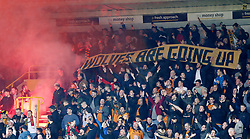 Wolverhampton Wanderers' fans celebrate promotion against Birmingham during the match at the Molineux ground