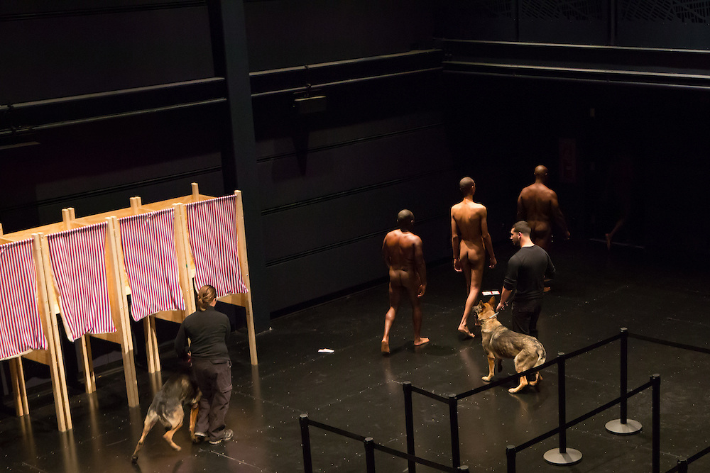 """Dread Scott Decision, a participatory performance that looks at """"the contradiction of a country that was ostensibly founded on democracy but that also has slavery woven into its founding document,"""" at the Brooklyn Academy of Music's Fishman Space."""