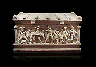 Roman relief sculpted Herakles (Hercules)  sarcophagus, 2nd century AD, Perge, inv 2017/400. Antalya Archaeology Museum, Turkey. Against a black background.<br /> <br /> If you prefer to buy from our ALAMY STOCK LIBRARY page at https://www.alamy.com/portfolio/paul-williams-funkystock/greco-roman-sculptures.html . Type -    Antalya    - into LOWER SEARCH WITHIN GALLERY box - Refine search by adding a subject, place, background colour, etc.<br /> <br /> Visit our ROMAN WORLD PHOTO COLLECTIONS for more photos to download or buy as wall art prints https://funkystock.photoshelter.com/gallery-collection/The-Romans-Art-Artefacts-Antiquities-Historic-Sites-Pictures-Images/C0000r2uLJJo9_s0