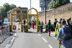 London, August 27 2017. Heavy barriers are in place this year to prevent unauthorised vehicles entering the area with police mounting a massive security operation as Family Day of the Notting Hill Carnival gets underway. The Notting Hill Carnival is Europe's biggest street party held over two days of the bank holiday weekend, attracting over a million people. © Paul Davey.