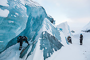 UNIS students explore the broken surface of Rabotbreen, Svalbard on a class field trip.