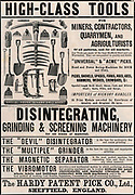 Advertisement for agricultural, mining and quarrying tools, Sheffield, England, 1895.