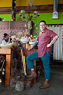 Ned Ludd, a restaurant in NE Portland, where nearly every dish is cooked in the restaurant's wood burning oven. Chef/co-owner Jason French