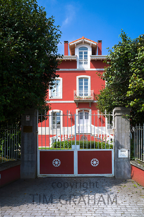 Traditional Indianos house La Generala built 1890 by wealthy owners in village of Samao in Asturias, Spain