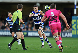 Bath Rugby captain Charlie Ewels receives the ball - Photo mandatory by-line: Patrick Khachfe/JMP - Mobile: 07966 386802 01/11/2014 - SPORT - RUGBY UNION - Bath - The Recreation Ground - Bath Rugby v London Welsh - LV= Cup