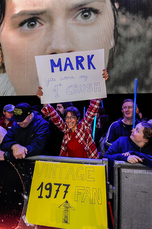 An old fan of Mark Hamill - The European Premiere of STAR WARS: THE FORCE AWAKENS - Odeon, Empire and Vue Cinemas, Leicester Square, London.