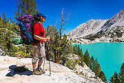 Backpacker at First Lake, Big Pine Lakes, John Muir Wilderness, California