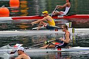 Shunyi, CHINA.  Men's single sculls Quarter Finals, CZE M1X, Ondrej SYNEK, at the 2008 Olympic Regatta, Shunyi Rowing Course. Sunday 10.08.2008  [Mandatory Credit: Peter SPURRIER, Intersport Images]