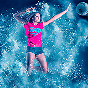 photoshop template for athlete, sports template, with volleyball, baseball, track.  powder explosion with wood gym floor