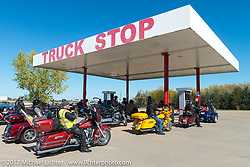 Gas stop on the USS South Dakota submarine flag relay across South Dakota on the first day from Sturgis to Aberdeen. SD. USA. Saturday October 7, 2017. Photography ©2017 Michael Lichter.