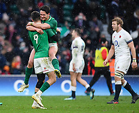 LONDON, ENGLAND - MARCH 17: Ireland's Conor Murray and Joey Carbery at the final whistle after the NatWest Six Nations Championship match between England and Ireland at Twickenham Stadium on March 17, 2018 in London, England. (Photo by Ashley Western - MB Media via Getty Images)