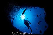 diver descends into Angelfish Blue Hole<br /> off Georgetown, Exuma, Bahamas,<br /> ( Western Atlantic Ocean )