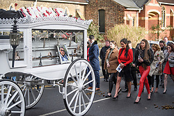 "© Licensed to London News Pictures. 14/02/2020. Sevenoaks, UK. Family members and mourners follow behind the coffins as they leave St John the Baptist church in Sevenoaks, Kent following the funeral service of traveller brothers Billy and Joe Smith. The twin brothers, who were made famous by the television programme ""My Big Fat Gypsy Wedding"", were found hanged in woodland three days after Christmas. Photo credit: Ben Cawthra/LNP"