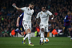 February 6, 2019 - Barcelona, Spain - Vinicius Junior and Karim Benzema during the match between FC Barcelona and Real Madrid corresponding to the first leg of the 1/2 final of the spanish cup, played at the Camp Nou Stadium, on 06th February 2019, in Barcelona, Spain. (Credit Image: © Joan Valls/NurPhoto via ZUMA Press)