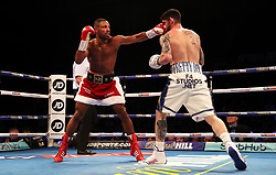 Kell Brook (left) lands a punch on Michael Zerafa during the Final Eliminator WBA Super-Welterweight Championship at the FlyDSA Arena, Sheffield.