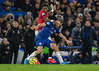 Football - 2019 / 2020 Premier League - Chelsea vs. Manchester United<br /> <br /> Fred (Manchester United) tries his hardest to get around Mateo Kovacic (Chelsea FC) at Stamford Bridge <br /> <br /> COLORSPORT/DANIEL BEARHAM