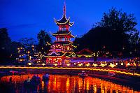 Chinese Tower (Chinese Pagoda) (Kinesiske Tarn) (Tivoli Lake in foreground), Tivoli Gardens (Tivoli Amusement Park), Copenhagen, Denmark