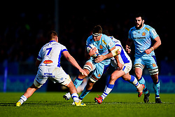 Sam Skinner of Exeter Chiefs is tackled by Baptiste Delaporte of Castres Olympique - Mandatory by-line: Ryan Hiscott/JMP - 13/01/2019 - RUGBY - Sandy Park Stadium - Exeter, England - Exeter Chiefs v Castres - Heineken Champions Cup