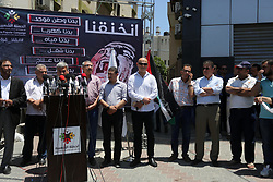 June 19, 2017 - Gaza City, Gaza Strip, Palestinian Territory - Palestinians take part during a protest to demanding right of patients to travel for treatment, in Gaza city on June 19, 2017  (Credit Image: © Mohammed Asad/APA Images via ZUMA Wire)