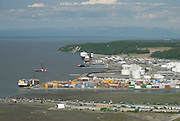 Anchorage aerials over Ship Creek and Anchorage Dock