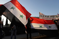 April 13, 2018 - Athens, Attiki, Greece - Greek leftists demonstrate in front of the American Embassy in Athens, against an American, EU intervention in Syria and demanding an end to the war. (Credit Image: © George Panagakis/Pacific Press via ZUMA Wire)