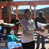 Radmilla Cody collects donations to bring to Camp Southwest, the Diné camp in Standing Rock, at the Navajo Nation Museum in  Standing Rock Wednesday. Cody and fellow friends and volunteers drove the donations to Standing Rock Thursday and she will perform at the Mni Wiconi benefit concert in Fort Yates, ND Saturday.