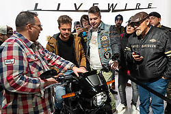 Harley-Davidson Livewire demo area in their booth at Motor Bike Expo (MBE) bike show. Verona, Italy. Saturday, January 18, 2020. Photography ©2020 Michael Lichter.