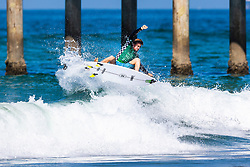 Beyrick De Vries (ZAF) advances to Round 3 of the 2018 VANS US Open of Surfing after placing second in Heat 13 of Round 2 at Huntington Beach, California, USA.
