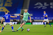 Everton midfielder Tom Davies (26) from Brighton and Hove Albion midfielder Leandro Trossard (11) during the Premier League match between Brighton and Hove Albion and Everton at the American Express Community Stadium, Brighton and Hove, England UK on 12 April 2021.