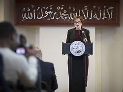 May 23, 2017 - Minneapolis, MN, USA - Minneapolis Mayor Betsy Hodges gave her State of the City address at Masjid an-Nur mosque in north Minneapolis, Minn., on Tuesday, May 23, 2017. The sign behind her reads ''There is no God but Allah and Muhammed (Peace be upon him) is His messenger.''   ] RENEE JONES SCHNEIDER Â¥ renee.jones@startribune.com (Credit Image: © Renee Jones Schneider/Minneapolis Star Tribune via ZUMA Wire)