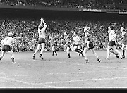 Dublin jumps for the ball during the Kerry v Dublin All Ireland Senior Gaelic Football Final in Croke Park on the 24th of September 1978. Kerry 5-11 Dublin 0-9.