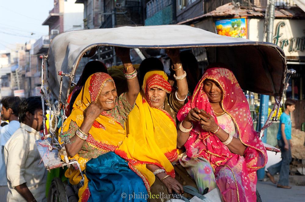 Women on a rickshaw ride through Jodhpur, Rajasthan, India