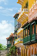 Colonial Balconies, Cartagena de Indias, Bolivar Department,, Colombia, South America.