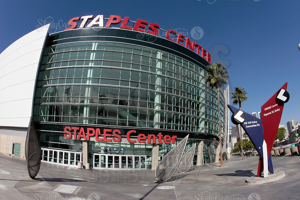 01 December 2008:  Exterior view of the Staples Center arena in downtown Los Angeles. This is the home of the NBA Los Angeles Lakers, NBA Los Angeles Clippers, WNBA Los Angeles Sparks and the NHL Los Angeles Kings. The Staples Center also supports entertainment events, concerts and award shows just north of Hollywood in Southern California.