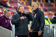 Middlesbrough manager Neil Warnock, Middlesbrough assistant coach Leo Percovich during the EFL Sky Bet Championship match between Brentford and Middlesbrough at Brentford Community Stadium, Brentford, England on 7 November 2020.