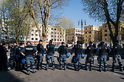 Police in Testaccio neighborhood in central Rome during the anti-European Union demonstration where riots were expected. Rome 25 March 2017. Christian Mantuano / OneShot
