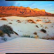 Sunset over sand dunes, Guadalupe Mountains National Park.4x5 Kodak Ektar 100. photo by Nathan Lambrecht
