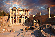photo & image of The library of Celsusat sunrise . Images of the Roman ruins of Ephesus, Turkey. Stock Picture & Photo art prints .<br /> <br /> If you prefer to buy from our ALAMY PHOTO LIBRARY  Collection visit : https://www.alamy.com/portfolio/paul-williams-funkystock/ephesus-celsus-library-turkey.html<br /> <br /> Visit our TURKEY PHOTO COLLECTIONS for more photos to download or buy as wall art prints https://funkystock.photoshelter.com/gallery-collection/3f-Pictures-of-Turkey-Turkey-Photos-Images-Fotos/C0000U.hJWkZxAbg