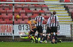 Alloa Athletic's Alan Trouten (10) scoring their goal.  Half time : Dunfermline 1 v 1 Alloa Athletic, Irn Bru cup game played 13/10/2018 at Dunfermline's home ground, East End Park.
