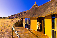 On the deck of a chalet,  Sossus Dunes Lodge near the Sossusvlei Sand Dunes (highest dunes in the world), Namib Desert, Namib-Naukluft National Park, Namibia