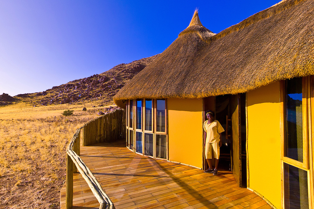 On the deck of a chalet,  Sossus Dunes Lodge near the Sossusvlei Sand Dunes (highest dunes in the world), Namib Desert, Namib-Naukluft National Park, Namibia