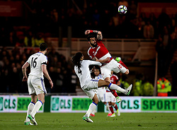 Alvaro Negredo of Middlesbrough beats Jason Denayer of Sunderland to the ball - Mandatory by-line: Robbie Stephenson/JMP - 26/04/2017 - FOOTBALL - Riverside Stadium - Middlesbrough, England - Middlesbrough v Sunderland - Premier League
