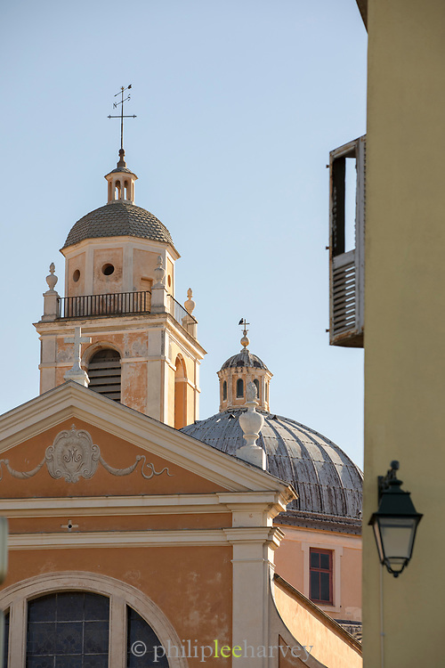 Low angle view of Ajaccio Cathedral on sunny day, Ajaccio, Corsica, France