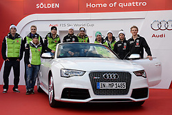 24.10.2013, Audi Lounge, Soelden, AUT, FIS Ski Alpin, Soelden, im Bild Team Germany during the Audi press conference prior to the alpine skiing world cup opening race at the Audia Lounge, Soelden, Austria on 2013/10/22. EXPA Pictures © 2013, PhotoCredit: EXPA/ Mitchell Gunn<br /> <br /> *****ATTENTION - OUT of GBR*****