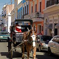 USA, Puerto Rico, San Juan. Horse-drawn Carriage in San Juan, Puerto Rico.