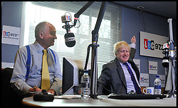 The London Mayor Boris Johnson during a Live debate on LBC Radio with the other Mayoral candidates Ken Livingstone (to Boris's right), Brian Paddick (lib dems) and Jenny Jones (Green Party), Tuesday April 3, 2012. Photo By Andrew Parsons/ i-Images